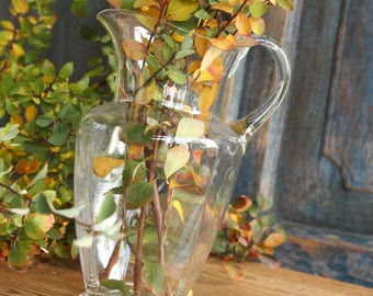 D 263 antique french  mouthblown glass CARAFE ,french unit age, christmas gift , kitchen decoration