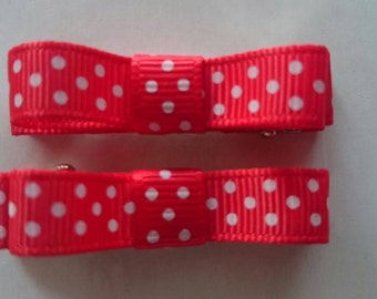 Toddler/Girl/Adult Non Slip Hair Clips - Mary Jane Hair Clip Set of 2 - Red with White Spots