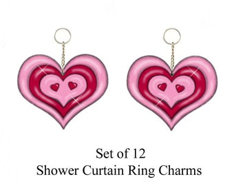 Winking Hearts..... Shower Curtain Ring Charms/Ornaments...Set of 12.