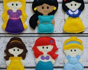 Princess Finger Puppet Set - Ready To Ship Today - Christmas Stocking Stuffer - Felt Finger Puppets -  Christmas Gift