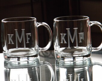 Set of 4 Monogrammed Glass Coffee Mugs - 13oz each Hand Engraved