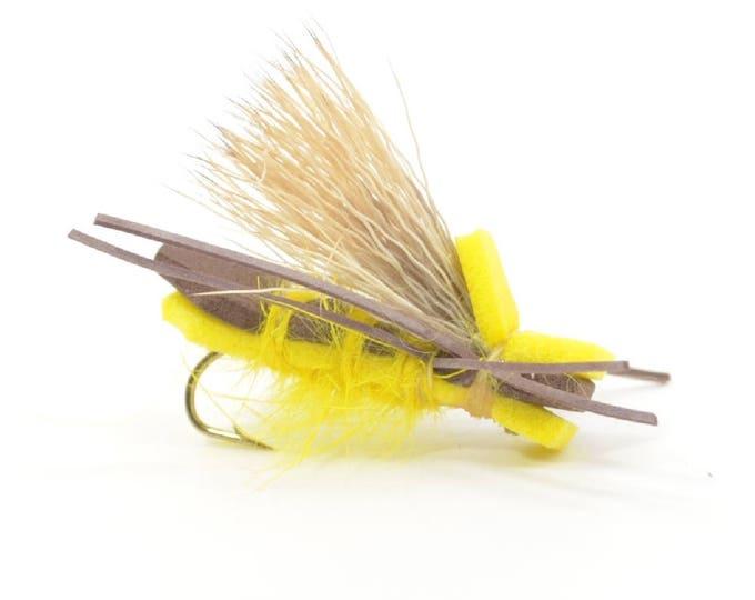 Yellow Godzilla Foam Body Grasshopper Dry Fly Fishing Fly  - Hook Size 12 - Hand Tied Trout Flies