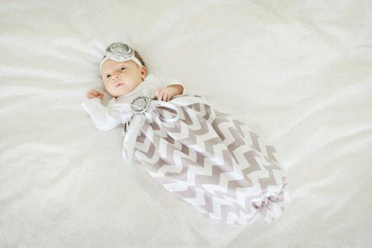 Baby Girl Dress Baby Girl bodysuit Dress Grey Chevron gown