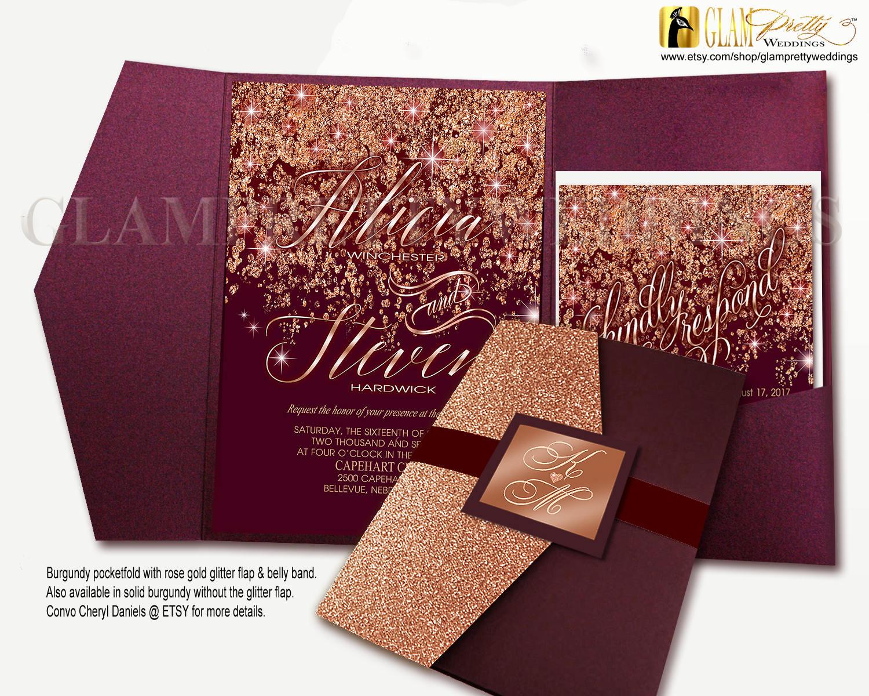 Printed Burgundy Marsala Rose Gold Glitter Fifteen 6-piece