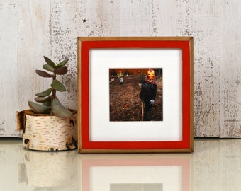 8x8 Square Picture Frame in 1x1 2-Tone Style with Vintage Red Finish - In Stock Same Day Shipping - 8 x 8 Photo Frame Rustic Red