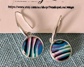 Colourful Dangle Drop Polymer Clay Earrings