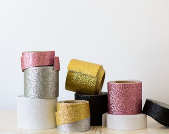 Glitter Wide Tape - Gold / Silver / White / Black / Mauve Pink