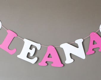 Name Garland custom coated cotton - 5 letters + 2 hearts