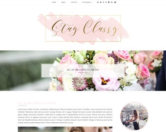 Stay Classy Premade Blogger Template - Responsive Blogger Template - Feminine Blogger Template - Minimalist Template