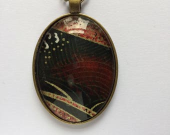 Pendant made with Japanese Chiyogami paper - Oval JP5