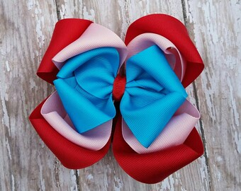 Red Pink and Turquoise Hairbow - Valentine Hair Bow - Birthday Hairbows - Layered Twisted Hair Bows - Boutique OTT Over the top Big Bow Clip