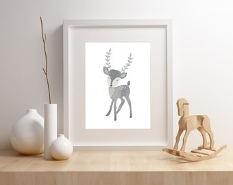 Deer nursery art print,  Giclee Art Print, woodland, archival art print