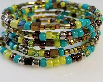 Green & Copper Memory Wire Beaded Wrap Bracelet