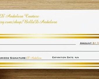 Gift Certificate Card 1500.00 Dollars for Bella D'Andalora