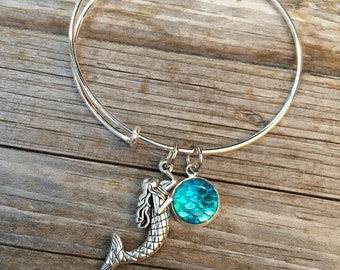 Mermaid bracelet, Ocean Bracelet, Charm Bangle, Charm bracelet,