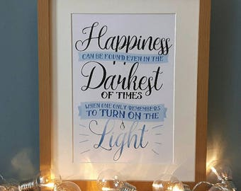 Dumbledore- Happiness Can Be Found DIGITAL A4 PRINTABLE poster, Harry Potter, home decor, inspirational quote, wall art, picture, gift