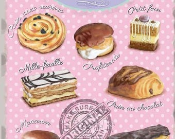 French Pastries Classic Cake Shop Kitchen Cafe Shabby Chic Small Metal/Tin Sign