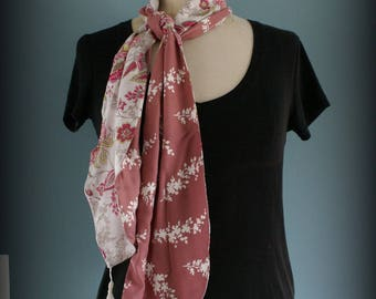 Pink Flower and cashmere scarf