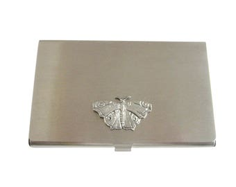 Silver Toned Textured Butterfly Business Card Holder