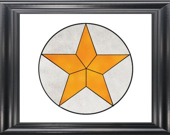 Easy Texas Star Suncatcher Stained Glass Pattern PDF Digital Download