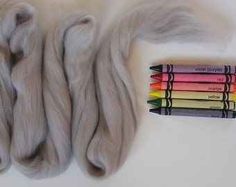 MERINO WOOL ROVING / Hippo Gray 1 ounce / wool for needle felting / wet felting / spinning / nuno / doll hair / infant photography props