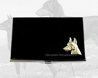 Doberman Pinscher Business Card Holder Inlaid in Hand Painted Enamel Black Glossy Finish Custom Colors and Personalized Option