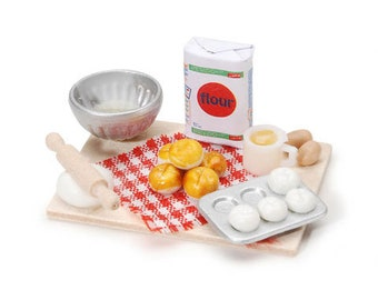 Dollhouse Miniature Bread Baking Display ~ Kitchen Food Minis ~ Fairy Garden ~ Shadow Box