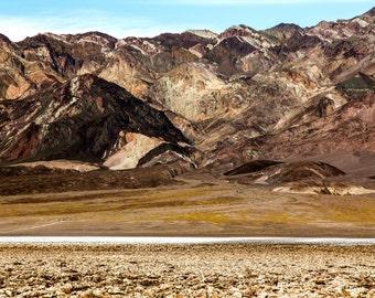 Death Valley Mountains Fine Art Photography   polychromatophil   Photo   Black Grey Brown Yellow White   Stone Rock Salt Desert Meager