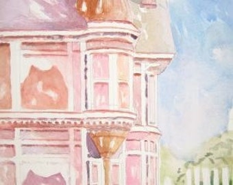 ORIGINAL WATERCOLOR Painting Print of Victorian House