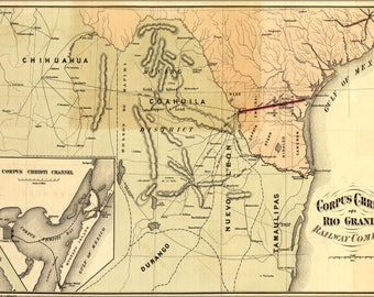 Poster, Many Sizes Available; Map Of Corpus Christi & Rio Grande Railroad 1874