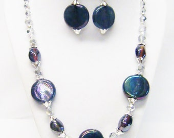 Plum Purple Disc Glass Bead Strand Necklace & Earrings