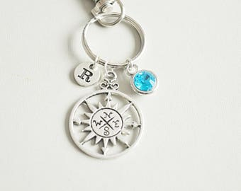 Compass keyring, Distance relationship, Long distance relationship, BFF keychain, Boyfriend Gift, Couple keyrings, Compass charm, Key chain