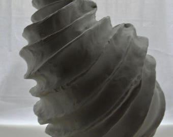 Porcelain handmade spiral vessel