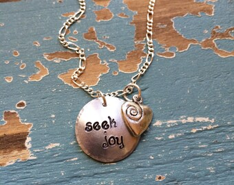 Seek Joy Bracelet with Swirly Heart Charm