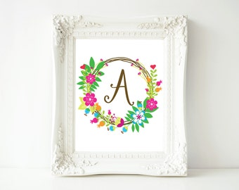 "Monogram printable art, Letter A, 8x10 Printable Wall Art, ""A"" Monogram Initial, Nursery Art, Home Art, Dorm room art"