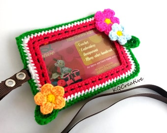 Crochet ID Cardholder- Water melon- Green and Red with small crochet flowers