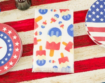 Miniature 4th of July Red White and Blue Popsicles Tea Towel - 1:12 Dollhouse Miniature