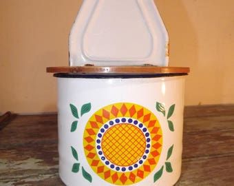 Retro/ Vintage Enamel And Wood Wall Mounted Kitchen Pot/ Container, Decor