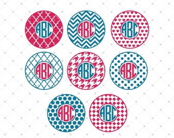 Circle Monogram Frames SVG Cut Files for Cricut, Silhouette and other Vinyl Cutters, svg files