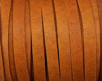 "Saddle Brown Deerskin Leather Lace 3/16"" - By the Yard - 4.76mm width"