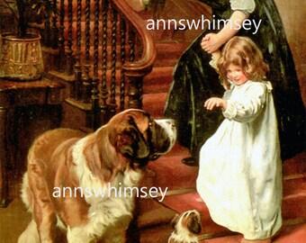 """Saint Bernard Dogs and Little Girl Art Print or Poster """"Nightie Night"""" RESTORED Art Print  Little Girl's Room Art #307"""