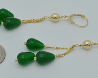 New 14K Solid Gold Natural Emerald Briolette leverback Drop Earrings