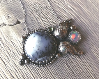 Opal necklace, Statement Pendant, Statement necklace, Dendritic opal, Ethiopian opal, Peridot necklace, alexandrite, inspirational necklace
