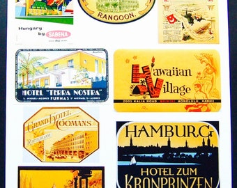 Vintage Luggage Label Images Paper, on Card Stock 8.5 X 11 Sheet Y-1, NOT Digital