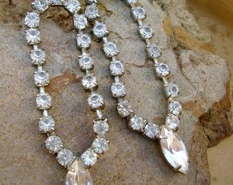 Exquisite Vintage 1980s Clear Rhinestone Drops Dangle Post Earrings Vintage Wedding Bridal Earrings