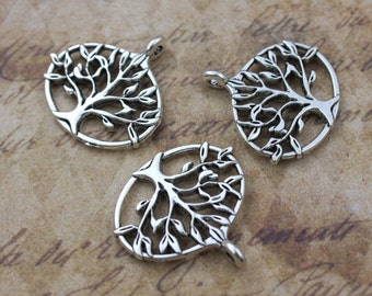 10 Tree Charms Tree Pendants Tree of Life Charms Antique Tibetan Silver Tone Double Sided 27 x 23 mm