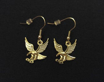 FREEDOM EAGLE Charm Earrings Stainless Steel Ear Wire Silver Metal Unique Gift