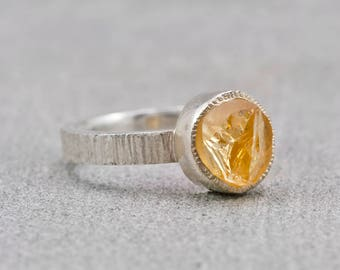 Citrine Burnt Orange Yellow Silver Stacking Ring // November Birthstone