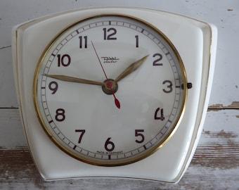 Diehl electric clock wall clock true 60s original german made Küchenuhr 60er vintage