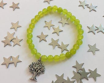Bracelet, Tree of Life & Peridot Gemstone, Jewellery, Jewelry, Silver Plated, August Birthstone.